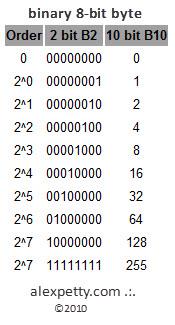 Binary 8 Bit Byte